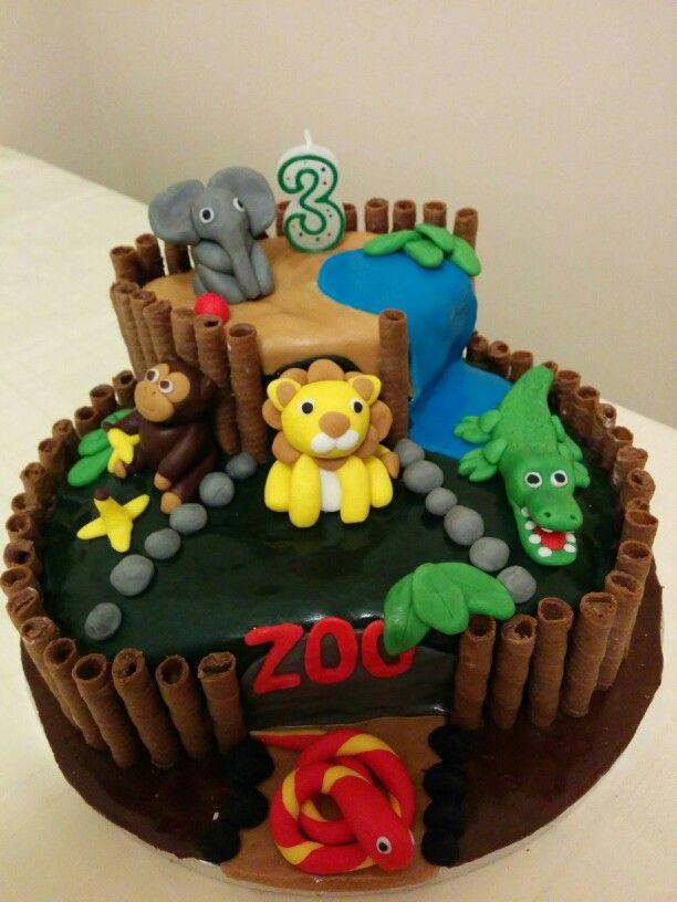 Zoo animal cake for the little mans birthday Easy Kids Cakes