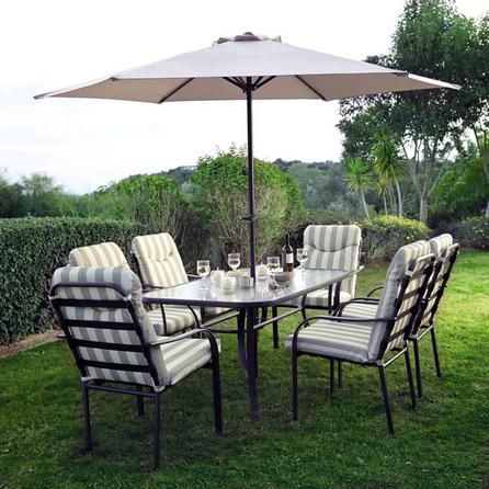 Provence 6 Seater Garden Dining Furniture With Parasol Dunelm