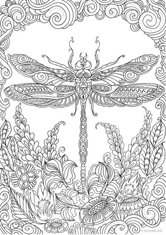 Dragonfly Printable Adult Coloring Page From Favoreads Coloring