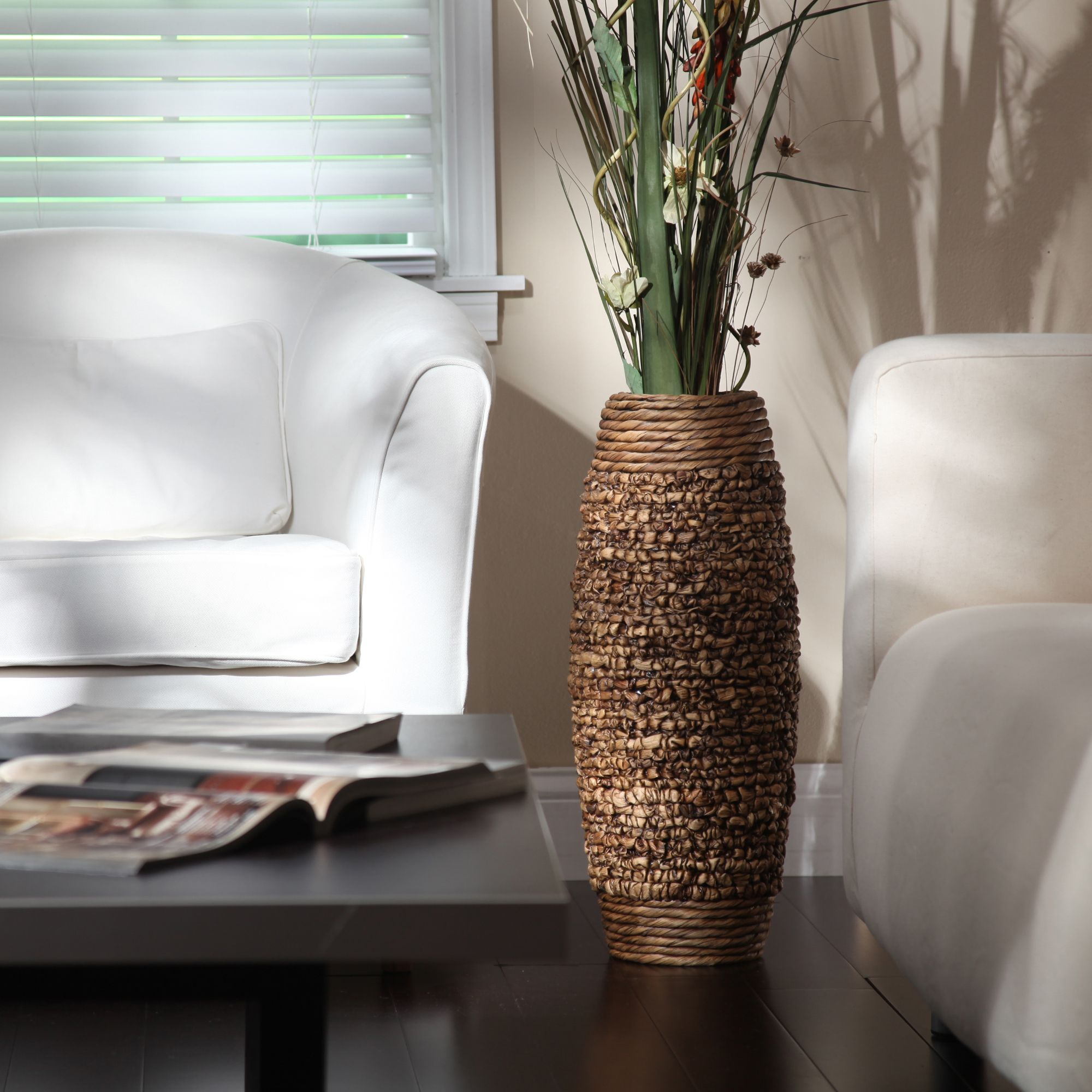 Elegant expressions by hosley natural water hyacinth vase