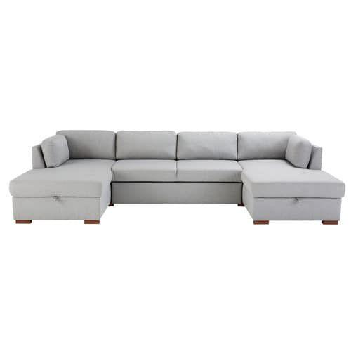 Times Square Light Grey U Shaped Sofa Bed Maisons Du Monde