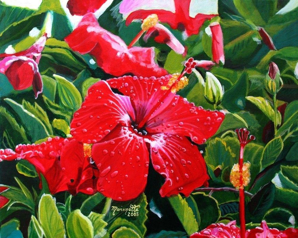 Red Hibiscus Mele Kalikimaka Print 8x10 Hawaiian Christmas Kauai
