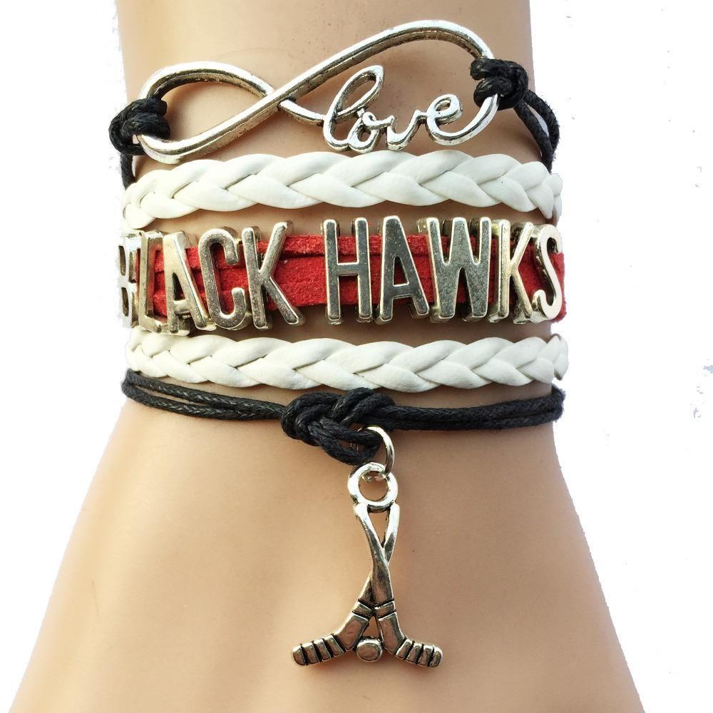 Visit To Drop Shipping Infinity Love Nhl Chicago Blackhawks Ice Hockey Team Bracelet