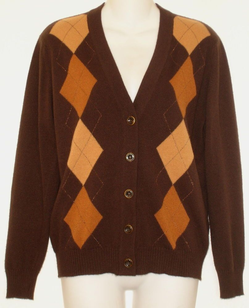 ESCADA 100% Cashmere Cardigan Sweater sz 36 Brown & Camel Argyle S ...