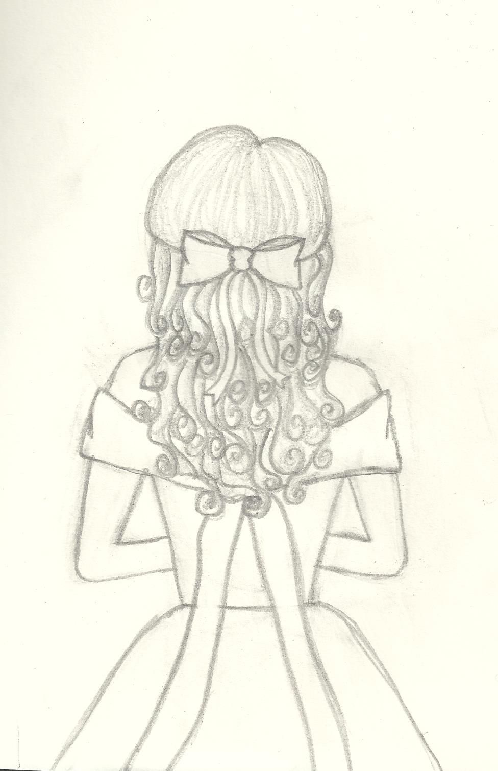 Curly Hair Girl With Bow Original Sketch By Kealani Back View Girl In Dress Sketch Art Girl With Bow Pr Art Sketches Curly Girl Hairstyles Girl Drawing