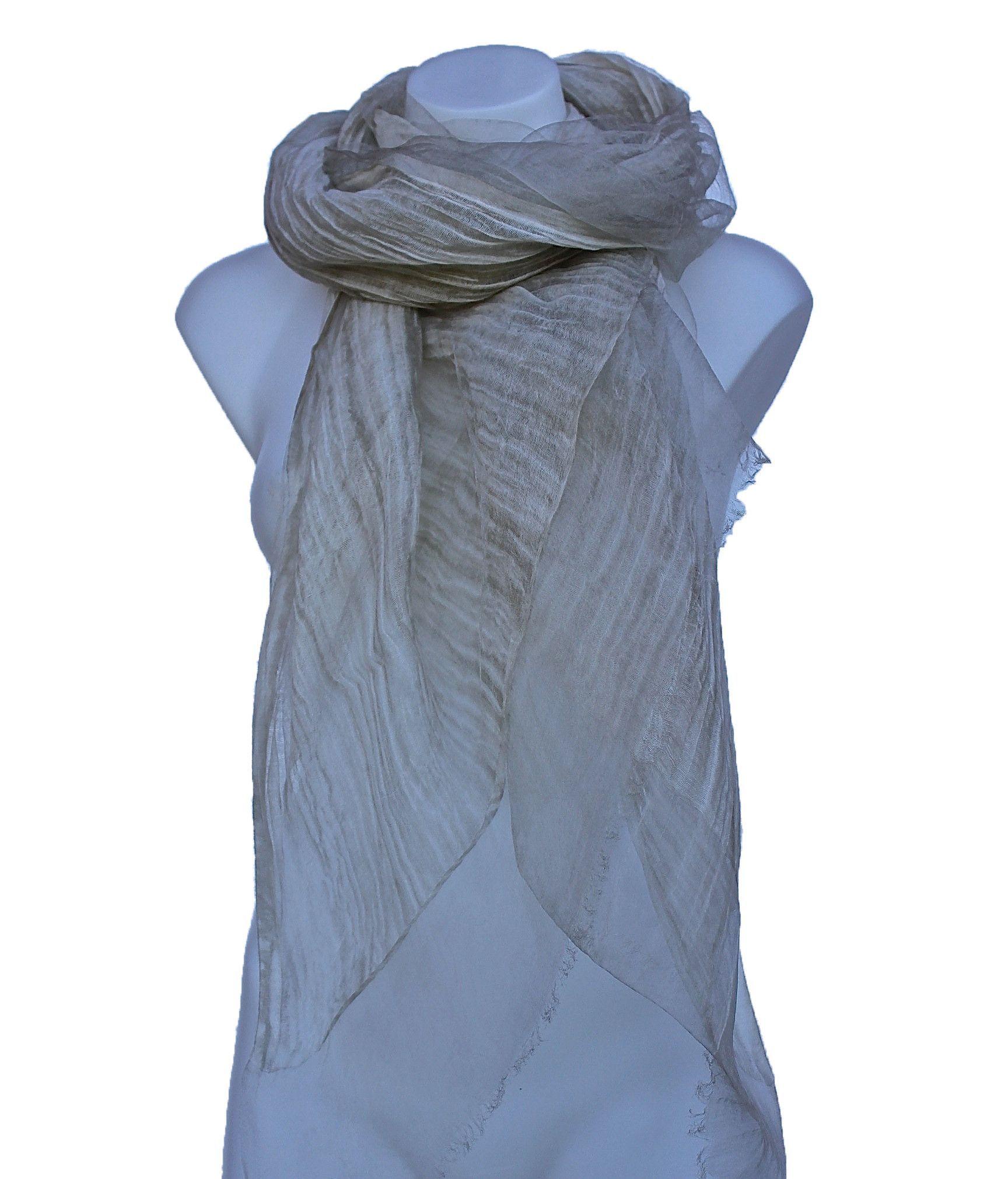Silk & Cotton Long Sheer Scarf/Wrap