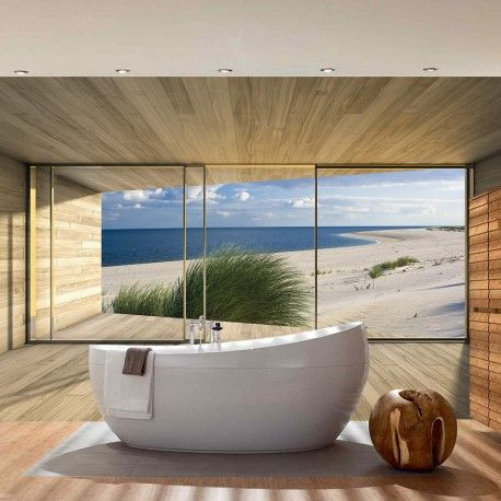 vlies fototapete no 1530 architektur tapete terrasse balkon fenster holzwand strand meer. Black Bedroom Furniture Sets. Home Design Ideas