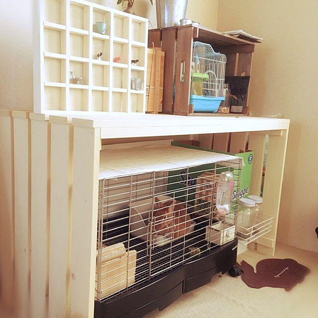ペットと暮らす ケージのdiy術やトイレの隠し方実例 ウサギ用ハウス うさぎ ケージ インテリア