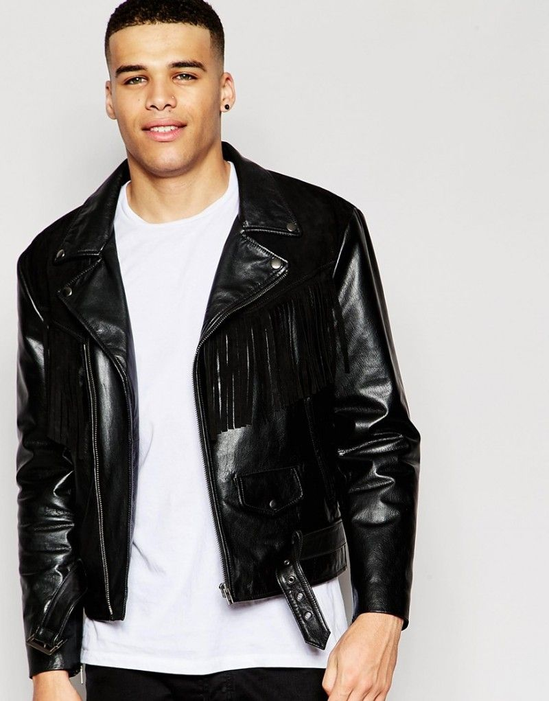 ASOS Leather Jacket Suede Fringe Detailing 002 800x1021 Modern Western: ASOS  Does Black Fringe