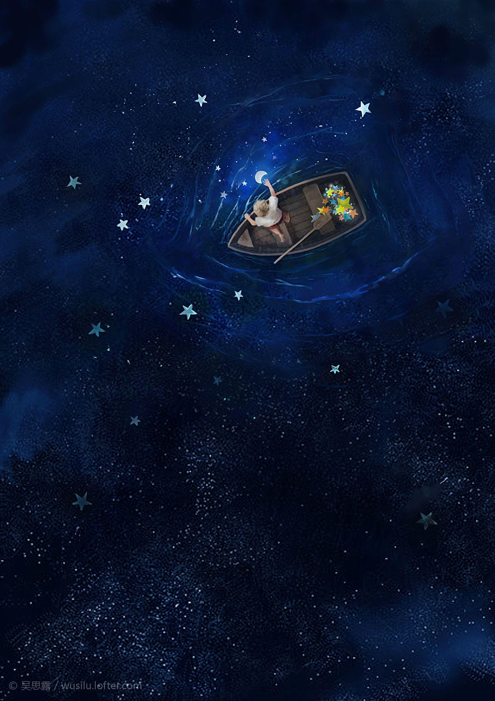 《我的月亮》插画期中作业!吴思露 Galaxy painting, Cute wallpapers