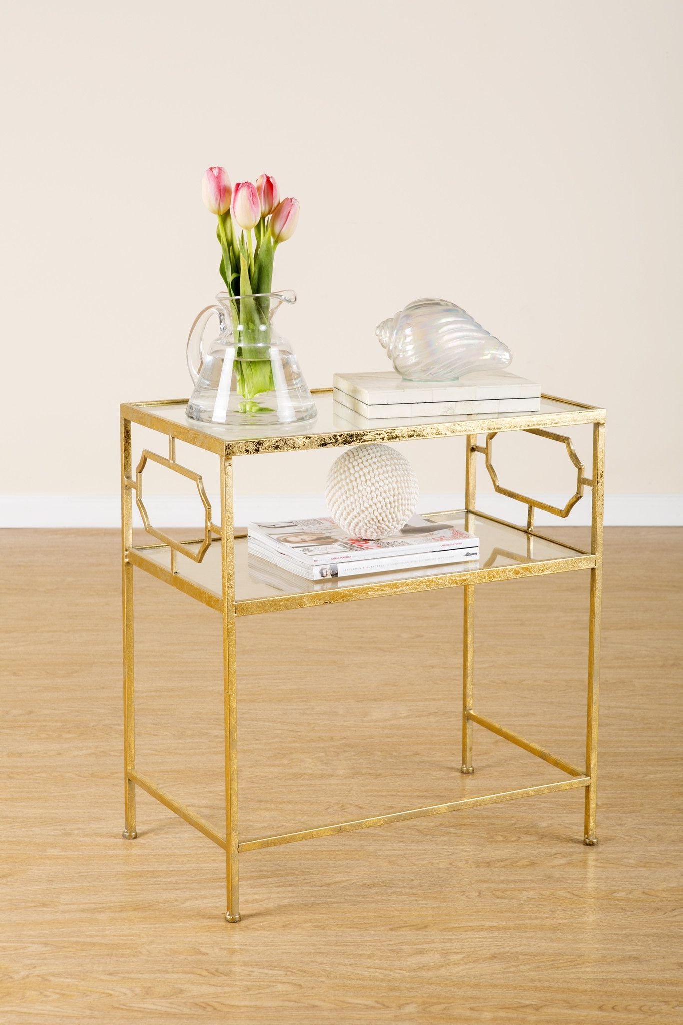 Konsole Für Küchenklappen T114 Iris Side Table White And Gold Furniture Table End