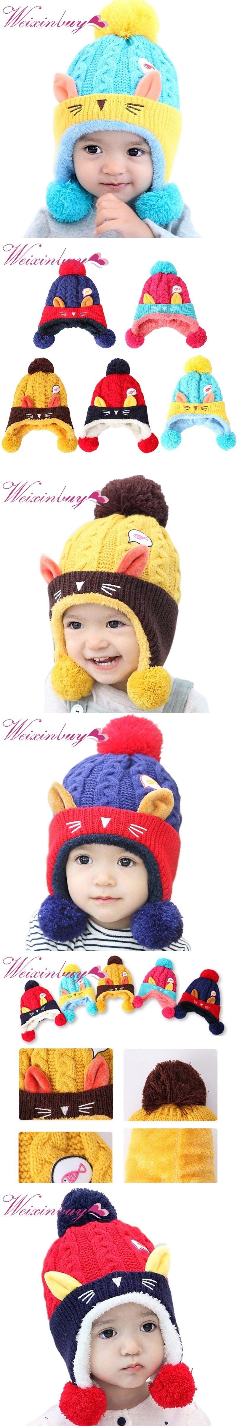 2f3fb48a85a 2017 Winter Hat Warm Infant Beanie Cap Cute Baby Children Boys Girls Animal Cat  Ear Kids