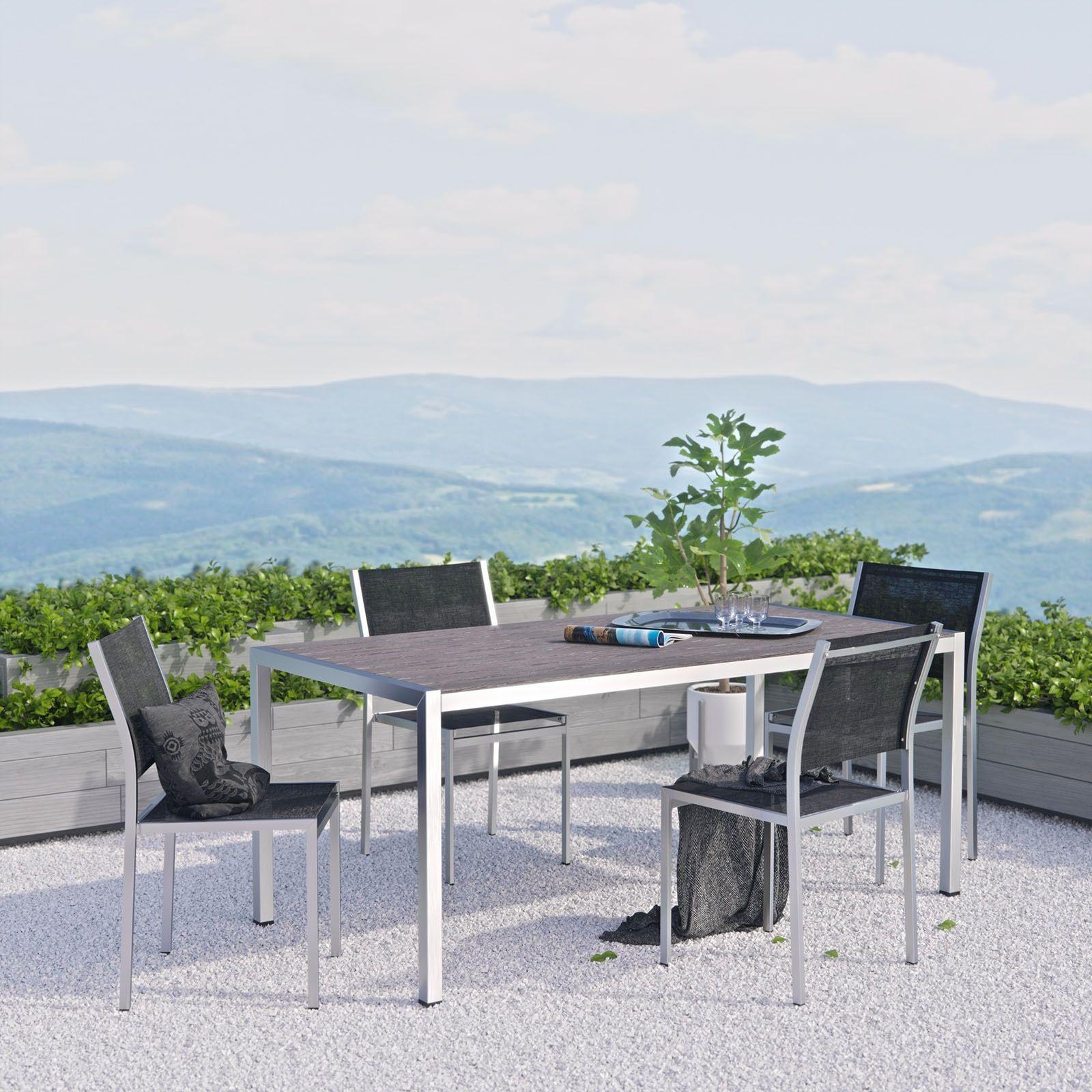 Modway Shore 5 Piece Outdoor Patio Aluminum Dining Set (Silver Black), Size 5-Piece Sets, Patio Furniture