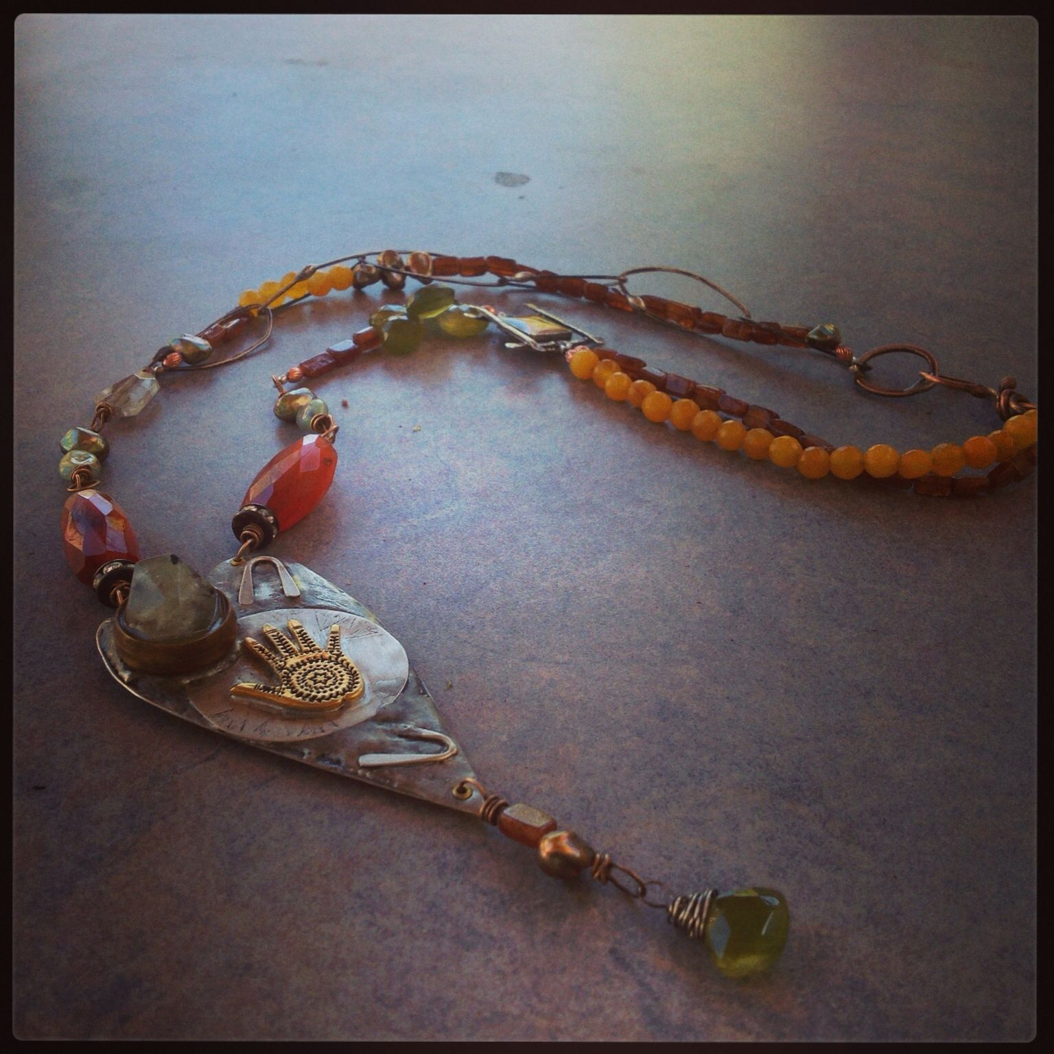 """Assemblage Necklace, """"My heart in your hand"""" by Jane Hermann Simons"""