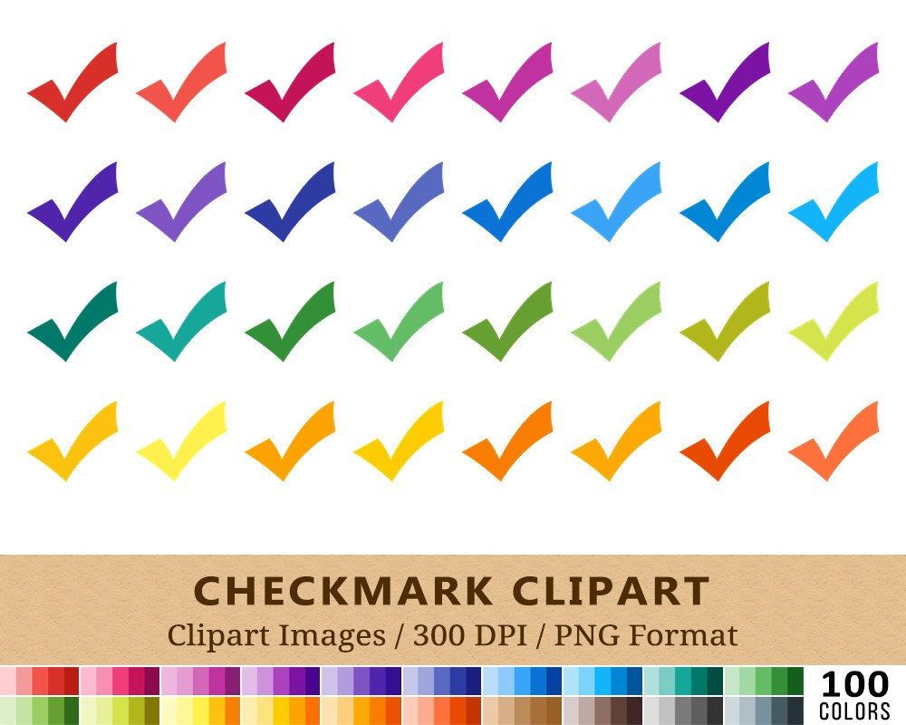 100 checkmark clipart tick mark clip art rainbow colors planner stickers icons [ 1000 x 800 Pixel ]