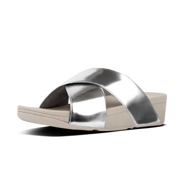 106339537bfe05 FitFlop Lulu Cross Slide Sandals in Silver Mirror colour available from  Brandshop UK with FREE postage