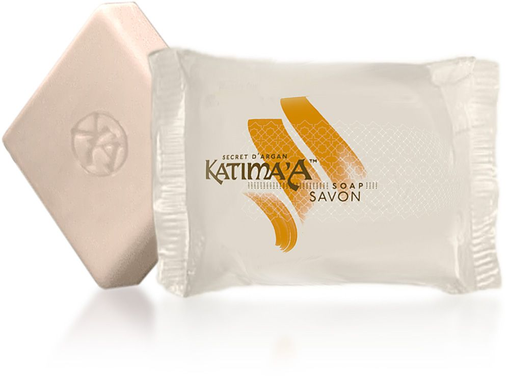 Argan oil & Glycerin in a gentle soap - Katima'A Argan Soap is faithful to the performance of the cosmetic range and is comprised of 100% vegetable oils. Combining the moisturizing and protective virtues of Argan oil, it is not only highly efficient on one's body but gentle enough to use daily on one's face. Easily transformed into a rich and creamy lather and with a light and fresh fragrance, this is an essential daily ally.