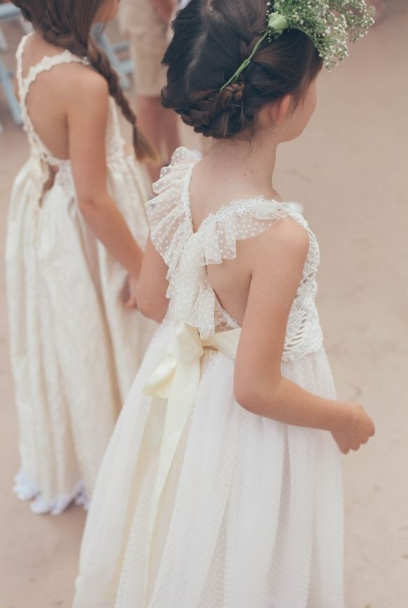 White Ivory Lace Flower Girl Dresses 2017 Tank Long Girls First