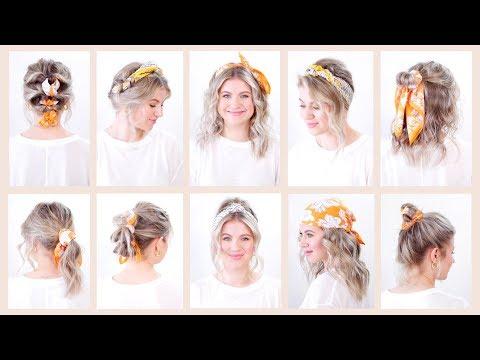 4 10 Easy Summer Hairstyles With Bandana Headband Milabu Youtube Easy Summer Hairstyles Summer Hairstyles Headband Hairstyles