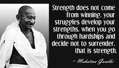 strength surrender gandhi picture quote personal growth