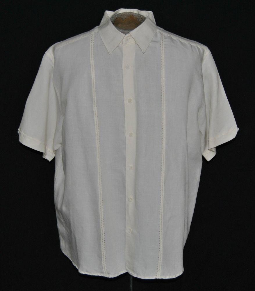Cubavera Shirt Xl Hawaiian Short Sleeve Ramie Blend Beige Solid Button Front   #Cubavera #Hawaiian