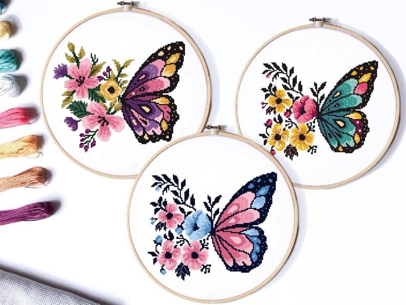 Photo of Butterflies Modern Cross Stitch Pattern, flower counted cross stitch chart, nature, hoop embroidery, Instant download PDF