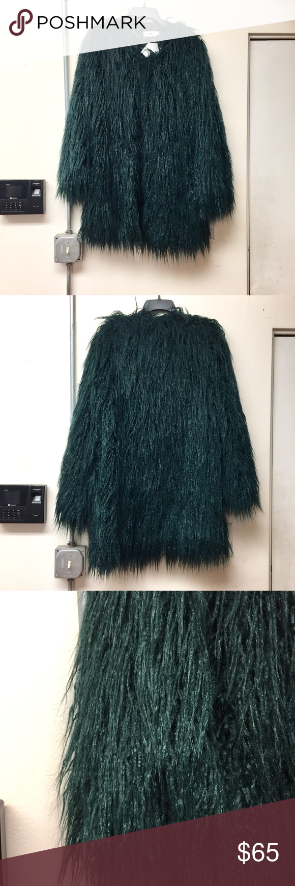 2ca39d859e8c LARK Shaggy Green Fur Coat Brand new LARK forest green coat. Black lace  lining lark Jackets & Coats