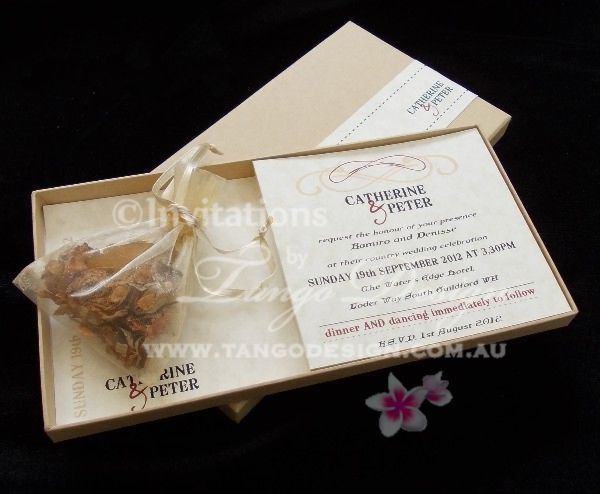 unique box wedding invitation ideawith dried flowers in a fine, invitation samples