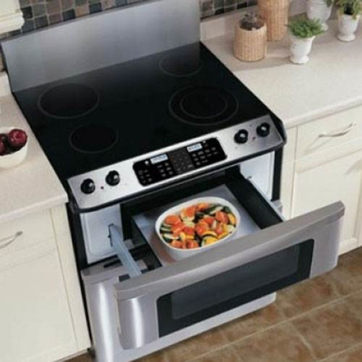 Sharp 30 Electric Convection Slide In Range W Microwave Drawer Black Primary Image