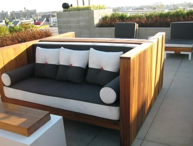 Outdoor Brown Conventional Varnished Wooden Conversation Set With White Black Pillow Also  Patio Sets on Sale for Your Lounger Outdoor Dining Area