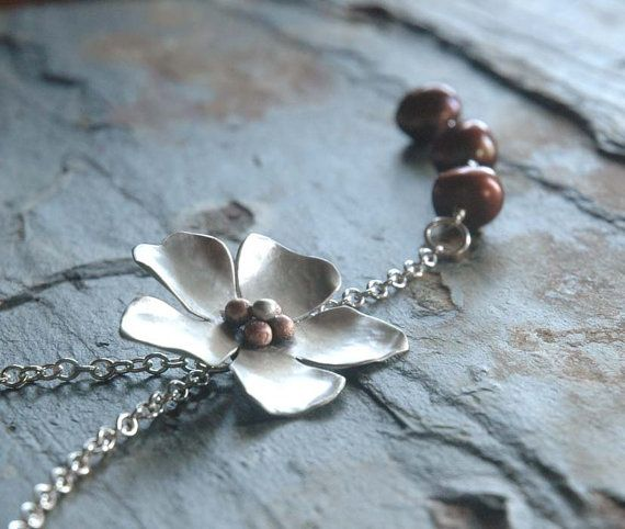Sweet Magnolia  Sterling Necklace with Baroque Pearls by sophiapip, $85.00