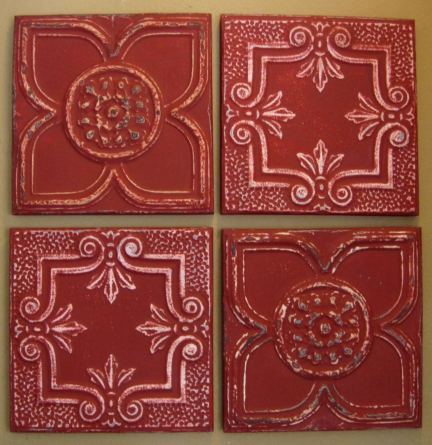 I want to put these on my kitchen ceiling tin tiles fixing up high resolution vintage tin ceiling tiles all 4 framed antique vintage ceiling tin tiles by driveinservice dailygadgetfo Image collections