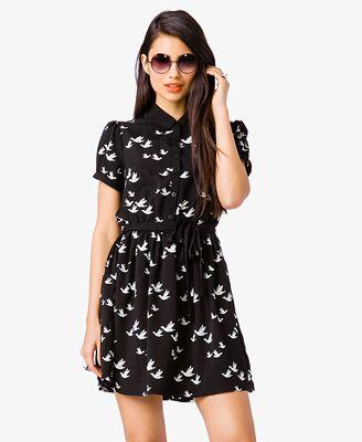 d4dd089f55 Dove Print Shirtdress | FOREVER21 - 2000049157 | Dresses like a ...