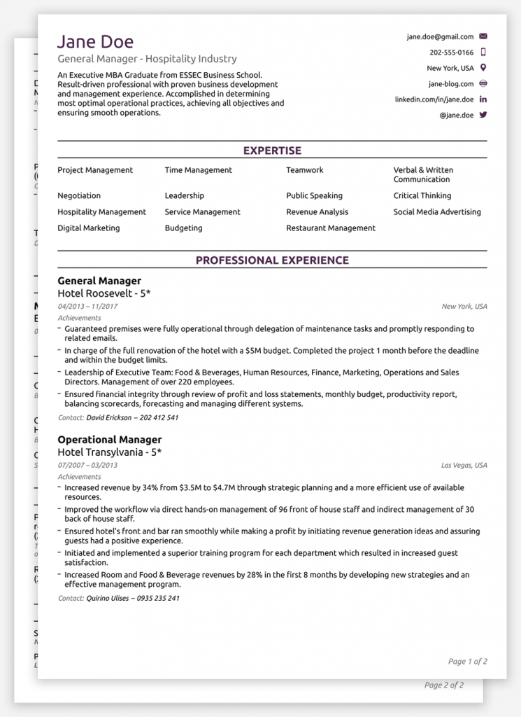 Curriculum Vitae (CV) Template in 2020 Resume template