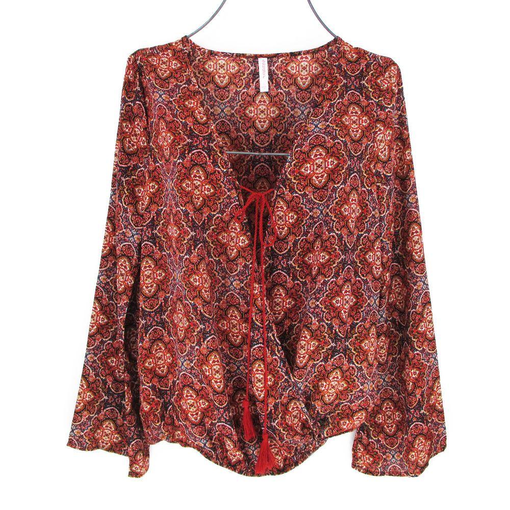 0285e8871d4 Womens 2X Peasant Blouse Top Plus Size XXL Bell Sleeve Bohemian Print  Tassels #Xhilaration #Blouse #Casual