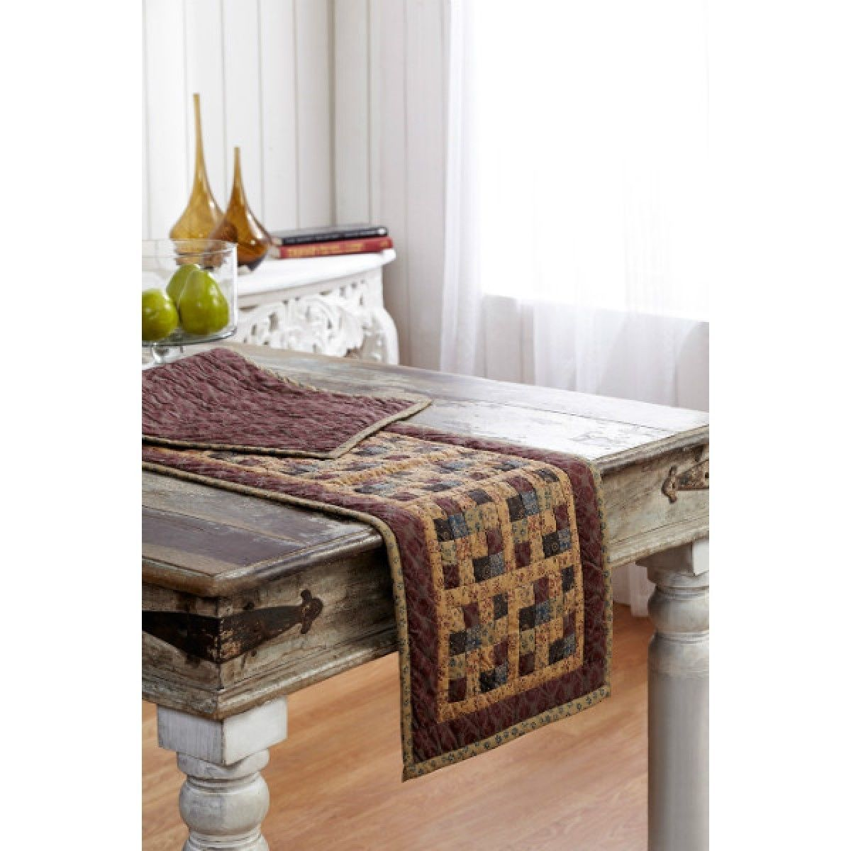 """Lewiston Runner Quilted Rustic Primitive Country Plaid Burgundy Khaki 13x36""""   eBay"""