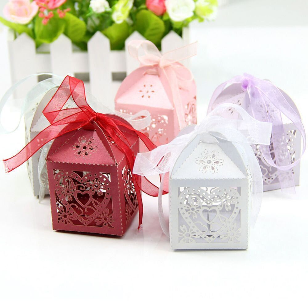 50pcs Set Hollow Love Heart Party Wedding Favors Gifts Iridescent Paper