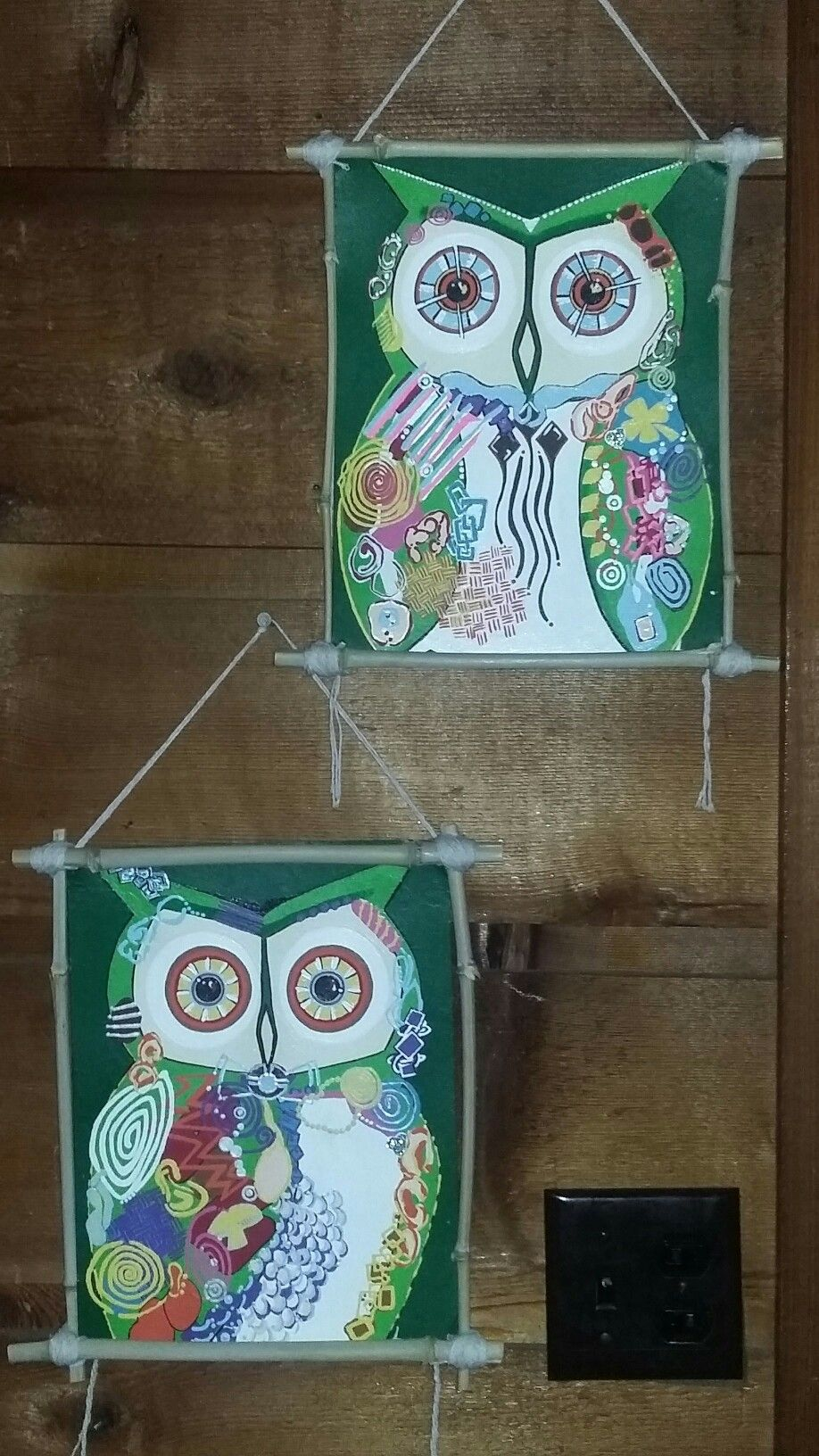 Twin Hoots. Acrilic, canvas board & real bamboo framing ...