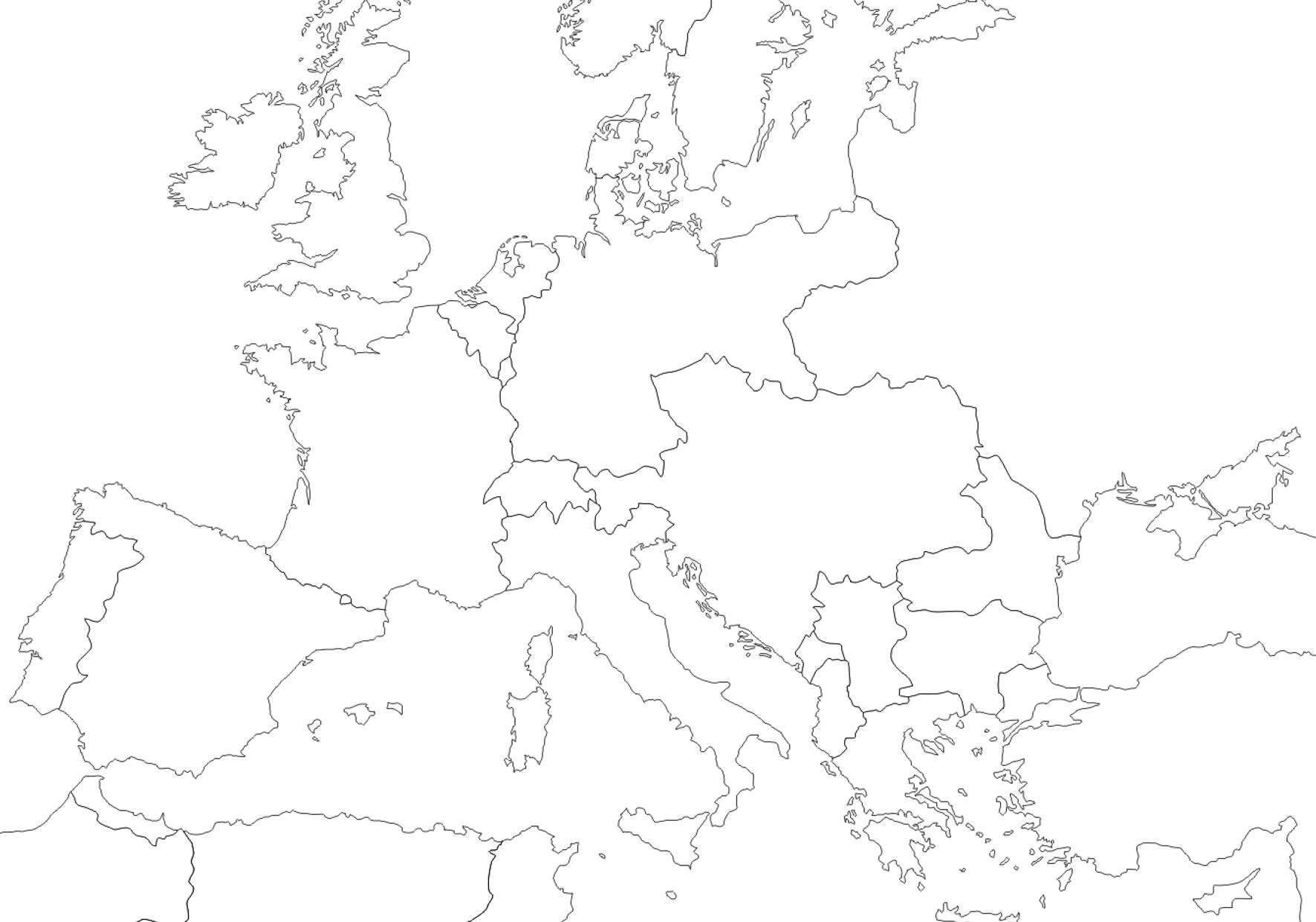 1914 - Outline map of Europe | WWI in 2019 | Map, Map quiz, Europe ...