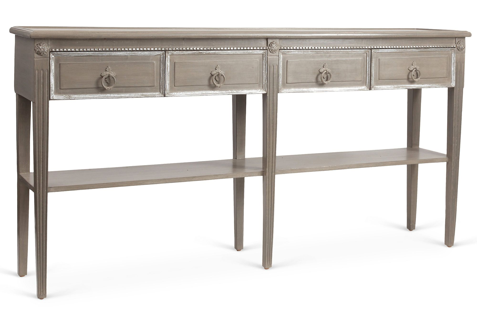 Vintage Reclaimed Repurposed Pieces French Style Console Table From One Kings Lane Four Drawer Console Table With Classic Table Entryway Tables Furniture