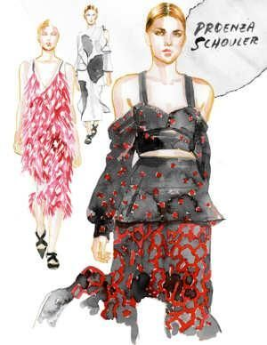 Fashion Illustration I by Samantha Hahn I fashion week sketch I pencil & water color fashion illustration I proenza schouler I fashion print I illustration woman  @monstylepin