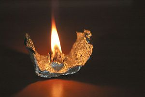 candle made from vaseline, cottonball, tinfoil...