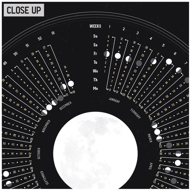 2020 Moon Calendar, Celestial Calendar, 2020 Weekly