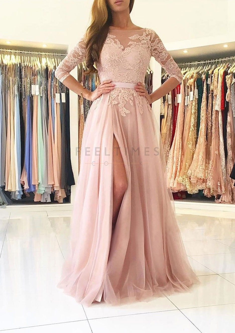 Tulle sleeve sweep train pink prom dress with lace feeltimes