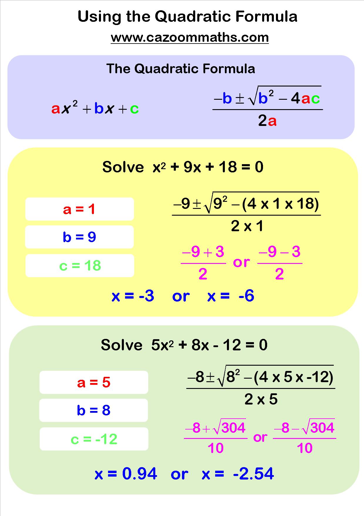 Using the Quadratic Formula | Learn Math | Pinterest | Estudios