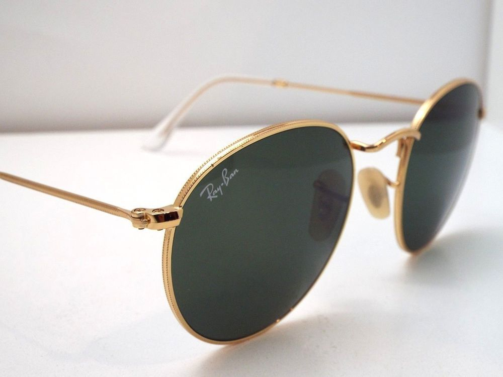 Authentic Ray-Ban RB 3447 001 Gold Green Classic Round 50 mm Sunglasses   190  fashion  clothing  shoes  accessories  unisexclothingshoesaccs ... a08cb3fc8fac