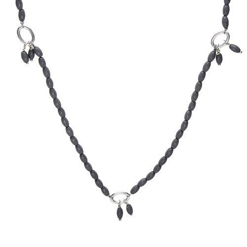 Irresistible necklace with simulated gems made in silver base metal. Total item weight 19.2g. Length 46inch.