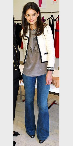 I love Katie Holmes style! cropped jacket, loose blouse, fitted ...