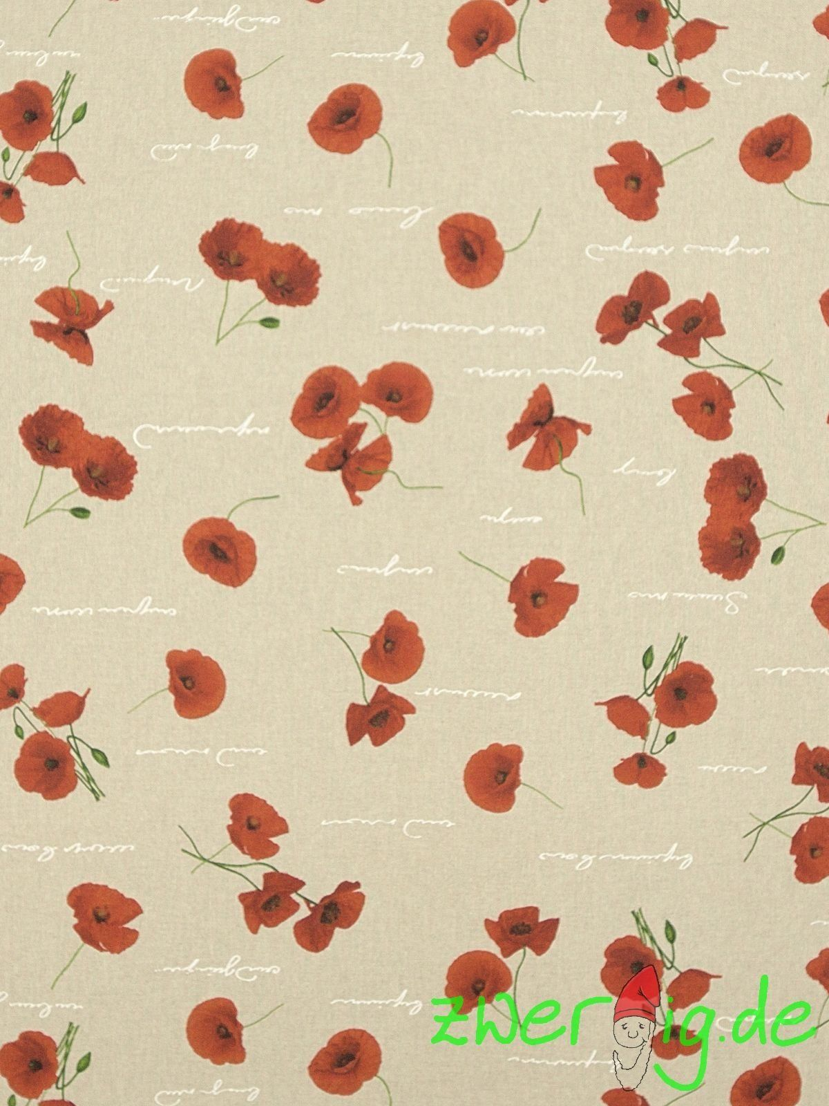 Cotton Mix Fabric Poppy Gossip Poppy On Natural Decomaterial Mohn Stoffe Und Dekostoffe