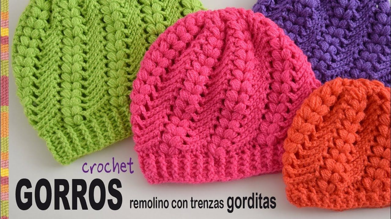 Gorros remolino con trenzas gorditas tejidos a crochet - Tejiendo ...